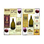 UMA - Wine Connoisseur Wall Art Set of 2 - Glasses of wine, empty bottles and labels from favorite vintners make this wall art a perfect choice for wine lovers