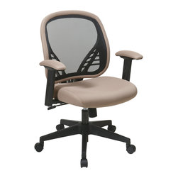 Office Star - Office Star DuraGrid Back and Latte Mesh Seat Managers Chair - DuraGrid Back and Latte Mesh Seat Managers Chair with Adjustable padded arms and angled nylon base.  Pneumatic Seat Height adjustment, pivot point tilt, 360? swivel, 2 to 1 Synchro Tilt with tilt tension and lock What's included: Office Chair (1).
