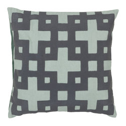 "Surya - Square Cotton Pillow AR-085 - 18"" x 18"" - Add style and sophistication to any room with this modern pillow accented with slate blue and pale aqua green. This pillow has a polyester fill and zipper closure. Made in India with one hundred percent cotton, this pillow is durable and priced right."