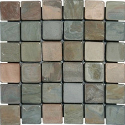 "Multi Classic Tumbled Mesh-Mounted Slate Mosaic Tiles 2"" x 2"" - 2"" x 2"" Multi Classic Mesh-Mounted Slate Mosaic Tile is a great way to enhance your decor with a traditional aesthetic touch. This Tumbled Mosaic Tile is constructed from durable, impervious Slate material, comes in a smooth, unglazed finish and is suitable for installation on floors, walls and countertops in commercial and residential spaces such as bathrooms and kitchens."