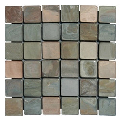"""Multi Classic Tumbled Mesh-Mounted Slate Mosaic Tiles 2"""" x 2"""" - 2"""" x 2"""" Multi Classic Mesh-Mounted Slate Mosaic Tile is a great way to enhance your decor with a traditional aesthetic touch. This Tumbled Mosaic Tile is constructed from durable, impervious Slate material, comes in a smooth, unglazed finish and is suitable for installation on floors, walls and countertops in commercial and residential spaces such as bathrooms and kitchens."""
