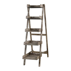 Annileise Bookshelf - Compact, Easel Style Folding Design With Five Wooden Shelves In A Sun Faded, Weathered Charcoal Finish Showing Multiple Layers Of Hand Distressing.
