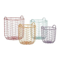 Maya Metal Baskets - Set of 4 - This set of four metal baskets are formed with iron wire in a classic chevron pattern. With their cheerful pastel palette, these baskets are a functional way to bring a pop of color into your room.