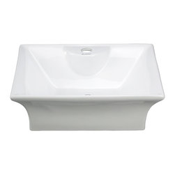Elite Sinks - Porcelain Above Counter Curved Rectangle Sink - ELANTI EC9839 - This above-counter rectangle sink has a deep bowl and soft flared sides, with single-hole faucet drilling. Elite Sinks manufactures the Elanti Collection of classic high-quality sinks and sells them directly to you!
