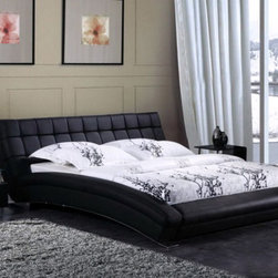 Sorento Bed Frame - Rich luxurious hand-tufted genuine leather and smooth sweeping lines create the ultimate in fashionable bedroom decor in the Sorento Modern Leather Bed Frame.