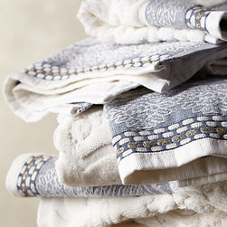 Scrollwork Towel Collection - These gorgeous 700 gram cotton towels from Portugal are extravagant in look and feel, but don't have the extravagant price. Plus, I love the beautiful scrollwork along the edges.