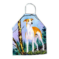 Caroline's Treasures - Whippet Apron - Apron, Bib Style, 27 in H x 31 in W; 100 percent  Ultra Spun Poly, White, braided nylon tie straps, sewn cloth neckband. These bib style aprons are not just for cooking - they are also great for cleaning, gardening, art projects, and other activities, too!