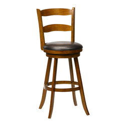 Hillsdale Furniture - Hillsdale Eastpointe Swivel Bar Stool w/ Brown Vinyl Seat in Cherry - The Eastpointe stool hints at Colonial styling and features a slightly arched slats and barely tapered legs.  Finished in a rich cherry, it also boasts an easy to clean brown vinyl.  Available in either bar or counter height.  Both heights feature a 360 degree swivel seat.  Assembly required.