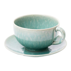 Jars - Tourron Jade Jumbo Cup and Saucer - The Jars Tourron Collection's contemporary design, with a straight rim and short pedestal, lets the glaze take center stage. The unparalleled character and depth of color will add a colorful flourish to your table.