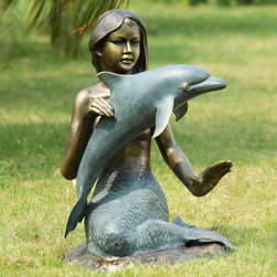 Mermaid & Dolphin Garden Sculpture with Bluetooth Speakers - Shipping is included in the price!