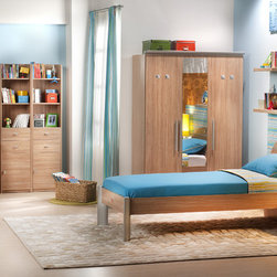 Modern Wood - Contemporary design meets industrial strength in the bedroom set. The wood bed frame and headboard are accented with aluminum details and aluminum profile legs. Closets, nightstand, desk and shelves complement the look.