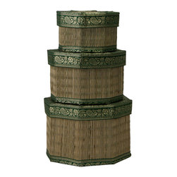 Cultural Elements - Set of 3 Octagonal Boxes - Traditional borders, this is a modern twist on age-old craft.