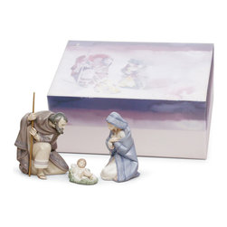 """Lladro Porcelain - Lladro Set Silent Night Figurine - Plus One Year Accidental Breakage Replacement - """"Hand Made In Valencia Spain - Sculpted By: Juan Huerta - Included with this sculpture is replacement insurance against accidental breakage. The replacement insurance is valid for one year from the date of purchase and covers 100% of the cost to replace this sculpture (shipping not included). However once the sculpture retires or is no longer being made, the breakage coverage ends as the piece can no longer be replaced. """""""