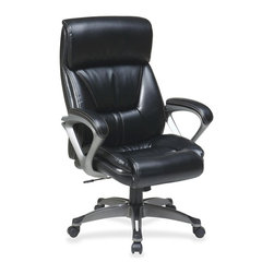 Lorell - Lorell Executive Leather Eco Chair - Leather Black Seat - Leather Back - Executive high-back chair features a deluxe look and comfort features to match. Cushioned back offers built-in lumber support. Seat includes a thick cushion and coil-spring seating comfort. Fixed arms offer a padded loop design and silver-coated accents. Back, seat and arms are upholstered in Back Eco Leather. Heavy-duty, titanium-coated, five-star base has black endcaps and dual-wheel carpet casters for stability and easy mobility. Functions include one-touch pneumatic seat-height adjustment from 17-1/4 to 20-1/4, 360-degree swivel and locking tilt control with adjustable tilt tension. Weight capacity is 250 lb. Seat size is 20-1/2 wide x 19-1/2 deep x 5 thick. Back measures 21 wide x 5 thick x 28 high.