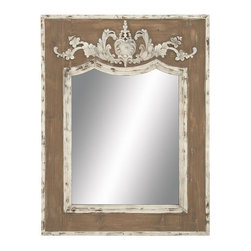 Benzara - Wood Frame Mirror with Intricate Floral Design - WOOD FRAME MIRROR is an elegant interior decor item for your dressing room. It features a rectangular wooden frame accented with intricate floral design.