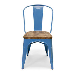 Inmod - Bastille Cafe Stacking Chair w/ Wood Seat (Set of 2), Sky Blue - The Bastille Cafe Stacking Chair (Weathered Wood Seat) combines spare industrial design with warm, French bistro charm.