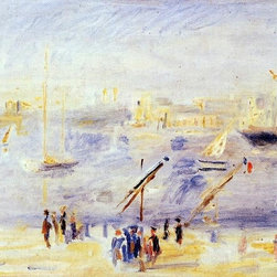 "Pierre Auguste Renoir The Old Port of Marseille, People and Boats  Print - 16"" x 24"" Pierre Auguste Renoir The Old Port of Marseille, People and Boats premium archival print reproduced to meet museum quality standards. Our museum quality archival prints are produced using high-precision print technology for a more accurate reproduction printed on high quality, heavyweight matte presentation paper with fade-resistant, archival inks. Our progressive business model allows us to offer works of art to you at the best wholesale pricing, significantly less than art gallery prices, affordable to all. This line of artwork is produced with extra white border space (if you choose to have it framed, for your framer to work with to frame properly or utilize a larger mat and/or frame).  We present a comprehensive collection of exceptional art reproductions byPierre Auguste Renoir."