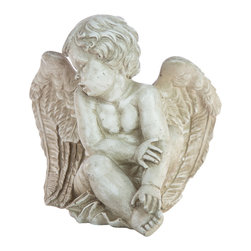 Casa de Arti - Resting Angel Cherub Figure Statue Classic Famous Statuary Home Decor Fine Art - Beautiful Sculpture of an Angel resting, perfect for a gift to a loved one or a gift to yourself at an incredible price!