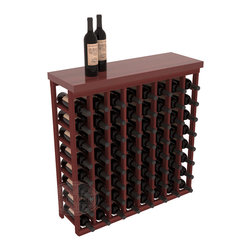 """Tasting Table Wine Rack Kit + Butcher Block Top in Redwood with Cherry Stain - The quintessential wine cellar bar; this wooden wine rack is a perfect way to create discrete wine storage in shallow areas. Customize with LEDs. Includes a 35"""" culinary grade Butcher's Block top. Marble and granite are also popular methods to create intimate tasting tables. We build this rack to our industry leading standards and your satisfaction is guaranteed."""