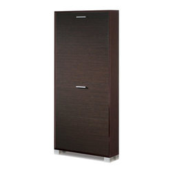 Sarmog - Wenge Shoe Rack With 4 Folding Single-Depth Doors - Add this luxury, contemporary shoe rack to your already modern & contemporary master bath.