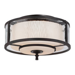 Quoizel - Quoizel ADS1615DC Adonis Transitional Flush Mount Ceiling Light - Clear, water glass surrounding another opal etched glass and a soft, clean relaxed country design makes this distinctive double glass treatment a unique collection.  A warm dark copper toned bronze finish with oval metal tubing ends with flowing scrolled arms.  The classic styling and overall look of this collection will make your home feel warm and inviting.