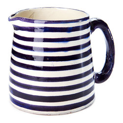 Indigo&Lavender - Riviera Milk Jug/Creamer - Handmade in Marrakech, Morocco. Traditional pottery making and clean modern lines are found in this delightful milk jug. It can al so be used a creamer.