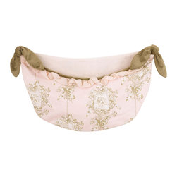Cotton Tale Designs - Lollipops & Roses Toy Bag - A quality baby bedding set is essential in making your nursery warm and inviting. All N. Selby patterns are made using the finest quality materials and are uniquely designed to create an elegant and sophisticated nursery. Part of the Lollipops & Roses collection, this toy bag made of pink angel toile with tan velvet ties and pink shimmer ruffle trim can be tied to your changing table or hung to decorate your walls, but never tie to the crib. Wash gentle cycle, separate, cold water. Tumble dry low or hang dry. This collection is perfect for your little girl.