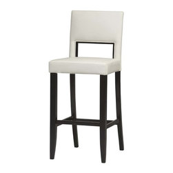 "Linon Home Decor - Linon Home Decor Vega Bar Stool 30 X-U-DK-10-THW45041 - The 30"" Vega Bar Stool features a rich, dark espresso finish. Great for homes with dark accents, this stool also has a padded white PVC vinyl seat and back. The legs are slightly tapered for a more elegant look, while the four foot rails provide stability and comfort. This stool is durable enough for a busy kitchen, yet elegant enough for a more formal setting. 275 pound weight limit."