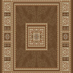 Ottomanson - Brown Traditional European Design Rug - Royal Collection offers a wide variety of machine made modern and oriental design area rugs with durable, stain-resistant pile in trendy colors.