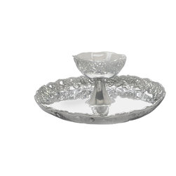 Arthur Court - Grape 2-Tiered Chip and Dip Tray - Double dipping allowed. Two gracious tiers of gleaming aluminum decorated with a grape motif take your chip and dip to the next level. Or, fill the bottom with fruit and the top with a sweet, fluffy marshmallow masterpiece.