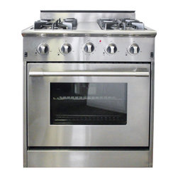 "Cosmo Kitchen - 30"" Professional Style Freestanding Stainless Steel Gas Range - Let this hot new gas range help you create meals like a professional chef. For those with discriminating tastes, this 5.2 cubic foot oven has the space to get it all done and the power to get it done fast. The freestanding gas range features 6 high powered gas burners which allow you to cook from a high heat for boiling, frying or searing to a low simmer for the most delicate sauces. With its classic stainless steel body and modern black finishes this freestanding gas range is designed to perform as well as it looks."