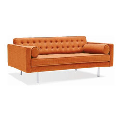 Spencer Mid Century Modern Sofa, Orange - An updated take on a sleek mid-century furniture design, this Spencer Mid Century Modern Sofa would make any mad men comfortable. It's built on a durable frame with sleek, brushed silver legs that add a spacious feel to your space. The linear design includes plush cushions upholstered in select fabric color options. A button-tufted back and welt trim are tailored details.