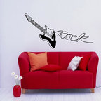 None - Guitar Musical Instrument Black Vinyl Wall Decal - Bring style to your home or business with this vinyl art featuring a musical guitar design. A great decorative innovations of recent years, vinyl wall decals are easy to apply and an inexpensive way to decorate your favorite space.