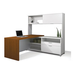 Pro-Linea White & Cognac Cherry L-Shaped Kit - The Pro-Linea L-Shaped Kit includes: Return Table, Credenza and Hutch. Credenza offers metal legs with levellers for precision adjustment.