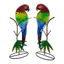 Zeckos - Pair of Colorful Metal Red Macaw Parrot Sculptures with Glass Bodies - Add a colorful, tropical accent to your home with this pair of metal parrot sculptures. Each one measures 18 1/2 inches tall, 7 1/2 inches long, and 4 1/2 inches wide. They are painted with bright, cheerful enamels, and each bird's body contains a textured glass insert. They look wonderful displayed on tables in front of windows, or on your porch or patio.