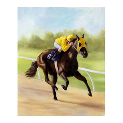 """Trademark Global - Giclee Print on Canvas of Horse of Sport XI b - Giclee on canvas. Ready to Hang Wall Art. Professionally mounted on a lightweight wooden frame. 36 in. W x 48 in. H x 1.5 in. depthGiclee (jee-clay) is an advanced printmaking process for creating high quality fine art reproductions. The attainable excellence that Giclee printmaking affords makes the reproduction virtually indistinguishable from the original artwork. The result is wide acceptance of Giclee by galleries, museums, and private collectors.Now you can experience all the passion and spirit of Michelle Moate's atmospheric artwork. """"Horse of Sport XI"""" will add a sense of movement to any home or office decor.Born in Pensacola, Florida in 1970, Ellen King's (now known as Michelle Moate) artistic talent began to reveal itself in the form of drawing at an early age. She studied art and psychology at Wesleyan College in Macon, and later at Oglethorpe University in Atlanta. From there her interests turned toward computer art forms, which led her to attend the Art Institute of Atlanta and the Atlanta College of Art. After studying mostly computer animation, her need to express herself through paint and charcoal intensified. She began painting for the art market in 1997, and before her return to Florida, she gained notoriety within the Atlanta area as a premier local artist. She was also nominated for national recognition through the Academy of Fine Art Foundation's fine arts award program in 2002. She has consistently donated art for various charities, and has attended art shows throughout the southeast, as well as Art Expo New York in 1998, 1999, and 2002.Ellen's work evokes a mood of warmth and passion through the colors of her palette. From horses to wine, her art demonstrates her own personal connection with the subjects. Her overall style is impressionistic, and sometimes a few contemporary mediums are added to enliven the compositions and give them more pizazz. Ellen states: """"I took on the ro"""