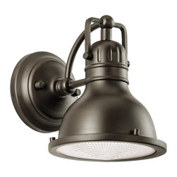 Kichler Lighting - Kichler Lighting 49064OZ Hatteras Bay LED Transitional Outdoor Wall Sconce - This 1 light wall lantern from the Hatteras Bay™ collection is a charming accent piece that will complement any space. Featuring a rich, Olde Bronze™ finish and a broad Clear Fresnel Lens, this design is sure to leave an impression.