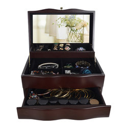 GLD - Jewelry Box Mirrored Jewelry Organizer Cosmetics Box Cabinet, Brown - The Mini Style Mirror Jewelry Armoire is the perfect and fashion way to organize all your jewelry and accessories! Now you can store and organize all your jewlery and beauty essentails. No longer will mornings be a stressful hunt for matching earrings, bracelets, necklaces, now you will find them hanging at eye level. You will have fun adding your jewelry collection to this armoire. This item is MDF wood Material with painting,no halmful to health and environment. Small size design with free standing ,can put on your table