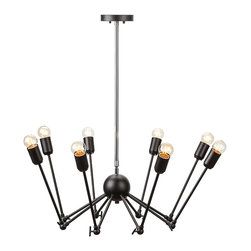 Nuevo Living - Rebecca Black Pendant Light by Nuevo - HGRA175 - The Rebecca Pendant Light in Black is a really cool light.It reminds us here at EBPeters of a spider with its eight adjustable legs.You can adjust the body shape and height to meet your needs.Canopy and bulbs included.