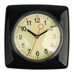 Kikkerland Retro Kitchen Wall Clock, Black - I love the black, cream and red colors of this clock.