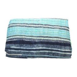 Blue Hues Hmong Blanket - Dimensions 96.0ʺW × 86.0ʺD × 0.5ʺH