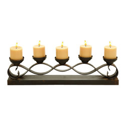 "Benzara - Five Candle Candelabra Centerpiece - Everyone loves a romantic dinner at home. What better way to light it then with this elegant candelabra as the centerpiece? This holds five candles at slightly varying heights with a serpentine form that rests on a solid base. The long and narrow shape of it also makes it good for resting right next to the bathtub during a long and relaxing escape.; Made of metal; Size: 26""x4""x7"""
