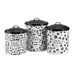 iMax - iMax Dog Food Storage Canisters - Set of 3 X-3-10244 - This set of three storage canisters are great for storing dog food and treats. The lidded design keeps food fresh. Set includes small, medium and a large size.