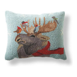 Grandin Road - Moose White Wonderland Pillow - Christmas pillows with bird, sheep, moose, elephant, and zebra designs. Looped, 100% wool front, with a cotton velveteen backing. Hidden zipper and polyfill insert. Dry or spot clean. Comfort and joy --- sprinkle in the creature comforts of our Winter Wonderland Pillows and, instantly, the holidays have arrived. Our hand-hooked pillows are perfect for dreaming by the fire, and such a fantastic value, it's easy to collect all the designs. The perfect blend of naturally appealing subject matter and festive whimsy.  .  .  .  . Imported.