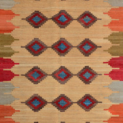 "ALRUG - Handmade Peach Oriental Kilim  4' 3"" x 6' 6"" (ft) - This Afghan Kilim design rug is hand-knotted with Wool on Wool."