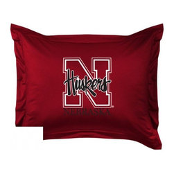 Sports Coverage - Nebraska Cornhuskers Locker Room Collection Pillow Sham - Show your team spirit with this officially licensed 25 x 31 Nebraska Cornhuskers sham. There is a 2 flanged edge that decorates all four sides of each Nebraska NCAA sham. Made of 100% polyester jersey mesh, just like the players wear, with screen printed Nebraska Cornhuskers logo in the center. Envelope closure in back. Fits standard pillow. Coordinates with Nebraska Locker Room Collection. 3 overlapping envelope closure is on back.
