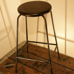 Iron Bar Stool with Wooden Seat -