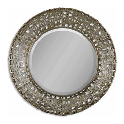 Uttermost - Alita Champagne Woven Metal Mirror - And the winner is! This woven metal mirror gets top billing for most striking appearance in a dramatic setting. Hang this winning, antique-stained champagne mirror in a hallway, bath or bedroom — wherever it can have the most impact.