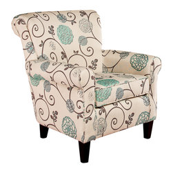 Great Deal Furniture - Roseville Floral Design Club Chair, Blue Floral - The Roseville club chair will add flare to any room with its floral design. The floral pattern adds a contemporary touch on this classic chair. Its well-padded cushions and armrests creates a comfortable seating experience and its strong hardwood frame makes this chair a solid addition to any room that will last years to come.