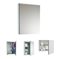 Fresca - Fresca Small Bathroom Medicine Cabinet w/Mirrors - This small sized medicine cabinet features mirrors everywhere. the edges of the medicine cabinet have mirrors and so does the back of the inside and the back of the door. The inside features two tempered glass shelves.